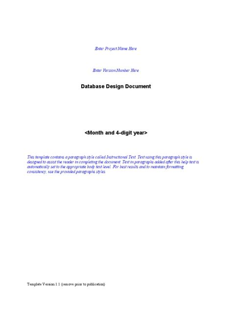 Interface Design Document Template by Database Design Document Template Application