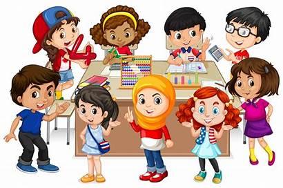 Many Learning Math Classroom Illustration Children Vector