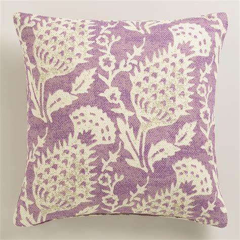 world market pillows purple floral jute throw pillow world market