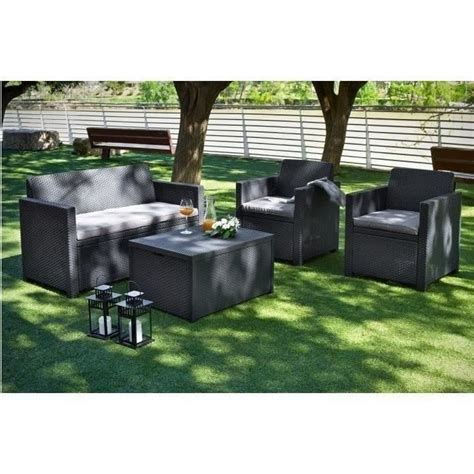 salon de jardin d occasion allibert salon de jardin 4 places merano coffre r 233 sine aspect rotin tress 233 gris achat