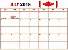 July 2018 Calendar Canada With Holidays – Printable 2018