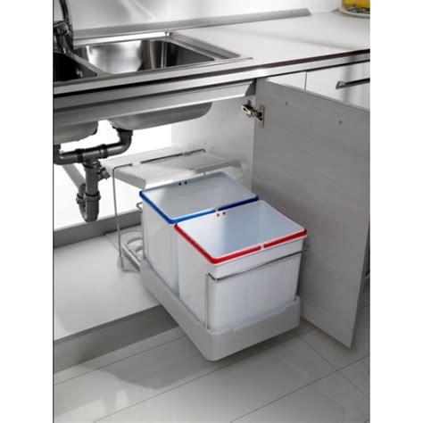 poubelle cuisine ouverture automatique poubelles coulissantes pour tri sélectif 2 bacs de 15 l