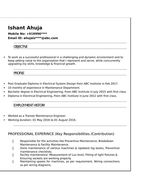 resume templates for electrical engineer freshers free