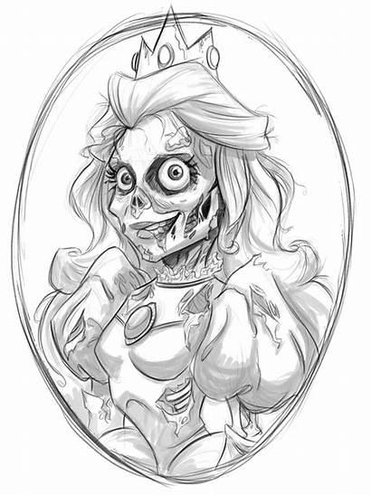Zombie Princess Peach Drawing Wip Drawings Deviantart