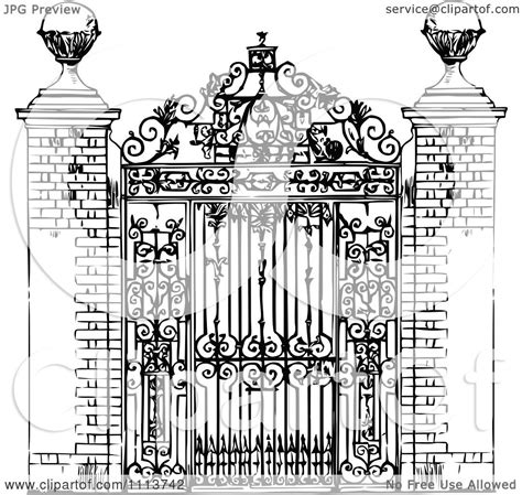 clipart vintage black  white ornate wrought iron gate royalty  vector illustration
