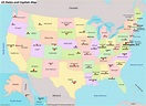 Us Map With State Names And Capitals