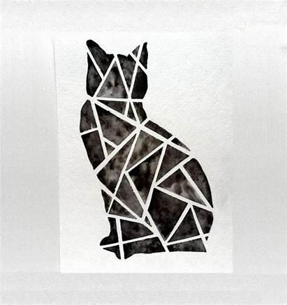 Geometric Cat Watercolor Tattoo Painting Cats Halloween
