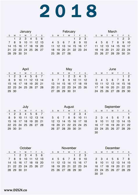 Free Calendar Template 2018 by 2018 Calendar Printable Free Free Dzgn