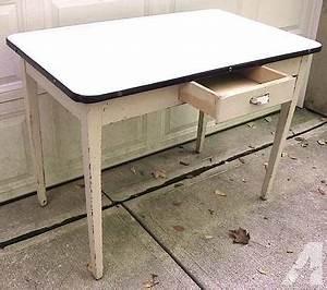 Vintage 1930's Enamel Top Hoosier Kitchen Table Wht W