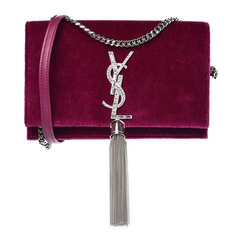 saint laurent velvet crystal monogram kate tassel shoulder bag fuchsia  fashionphile