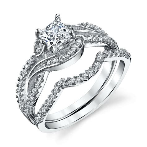 wedding ring sets silver 925 sterling silver cz engagement wedding ring cubic zirconia scroll design ebay