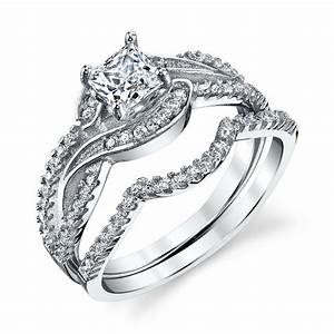 Ring Set Silber : 925 sterling silver cz engagement wedding ring set cubic zirconia scroll design ebay ~ Eleganceandgraceweddings.com Haus und Dekorationen