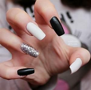 Matte black & white with silver glitter | Square & Coffin ...