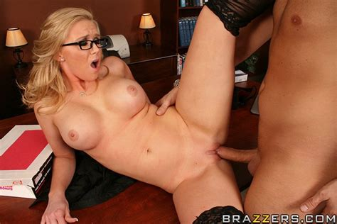 Busty Blonde Haired Office Babe In Glasses Takes Care Of