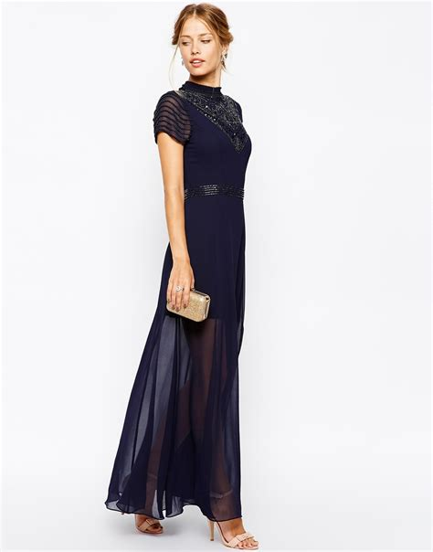 lyst splendid maxi dress frock and frill maxi dress with jeweled high neck in blue