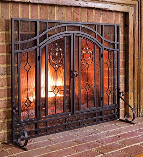 Plow & Hearth Floral Large Fireplace Screen With Doors
