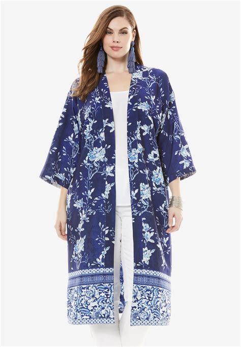 reversible printed kimono jacket plus size coats jackets roaman s
