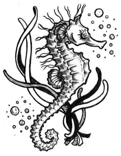 Wonderful Black And White Seahorse And Bubbles Tattoo Design | Sea | Seahorse tattoo, Bubble