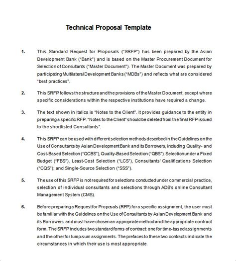 technical proposal templates   sample