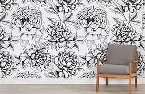Papier Peint Grosses Fleurs : illustrated floral colour in wallpaper murals wallpaper ~ Dode.kayakingforconservation.com Idées de Décoration
