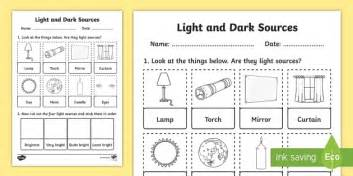 light and sources cut and stick activity sheet