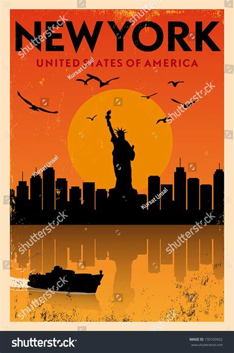 Vintage New York Poster Stock Vector 150103952 Shutterstock