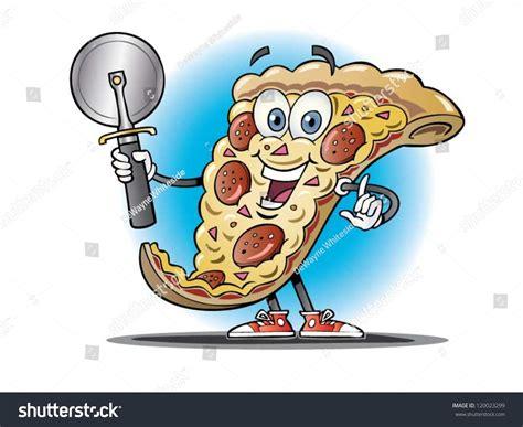 Cartoon Pizza Slice Holding Pizza Cutter Stock Vector
