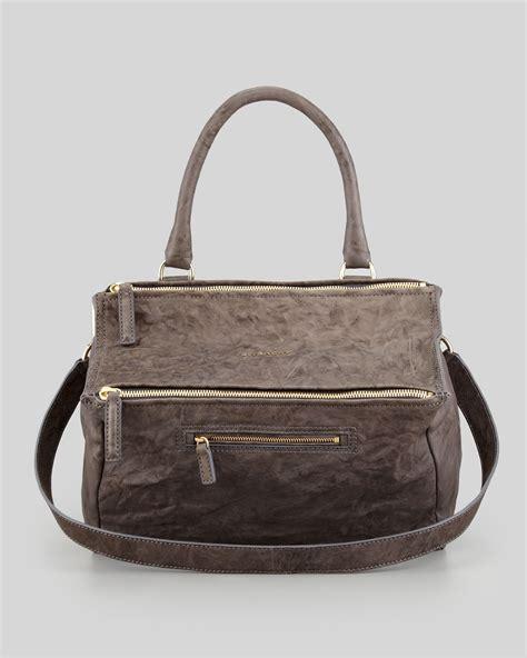 lyst givenchy pandora medium  pepe satchel bag charcoal  brown