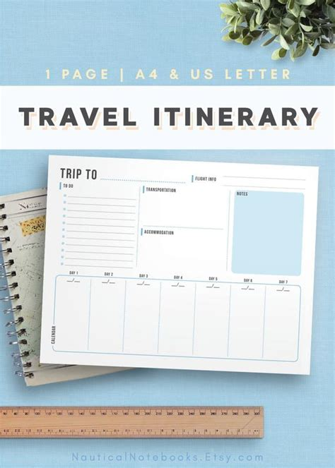 travel itinerary template family travel planner printable