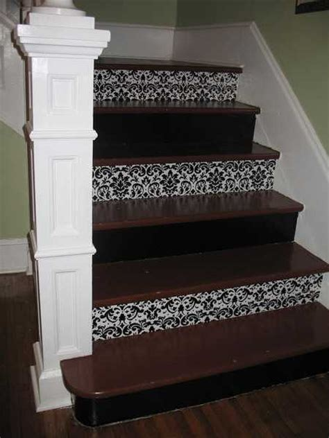 Decorating Ideas Leftover Wallpaper Border by Adding Beautiful Wallpapers To Stairs Risers For Original
