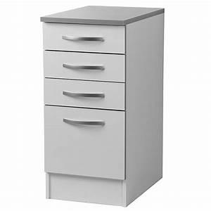 Meuble Bas Cuisine Blanc : meuble bas 4 tiroirs 40cm smarty blanc ~ Teatrodelosmanantiales.com Idées de Décoration