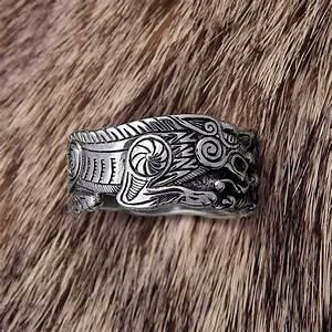 Odins Wolves Ring Fenrir Ring Wolf Ring Wolves Viking