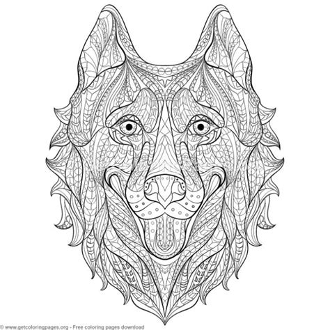 patterned zentangle husky coloring pages getcoloringpagesorg
