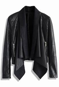 black faux leather jacket with waterfall drape ustrendy With leather jacket lettering