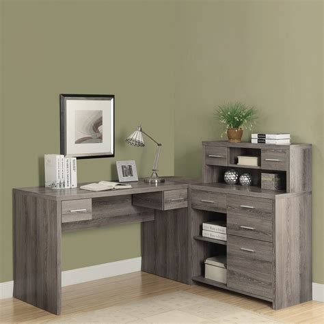 Monarch Specialties Inc Corner Desk Taupe by Shop Monarch Specialties Taupe L Shaped Desk At Lowes