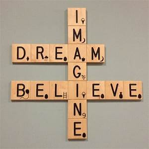 Imagine believe crossword wall art and nursery necessities