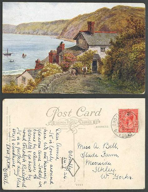 Ebay Boats For Sale Devon by A R Quinton 1934 Old Postcard Clovelly Bay Devon Donkey
