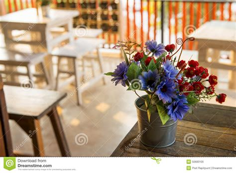 decoration flower on the table in coffee shop thailand stock image image 50683105