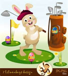 Easter Bunny Playing Golf Clip Art