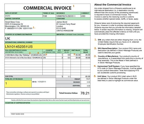 invoice  customs purposes  invoice template ideas