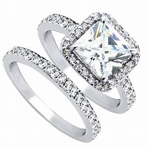women39s cubic zirconia princess cut sterling silver With women wedding ring set