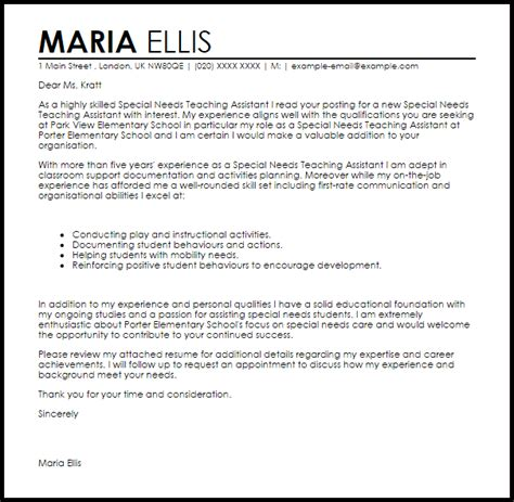 special  teaching assistant cover letter sample