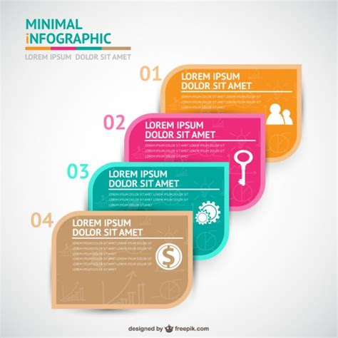 four steps infographics template vector free