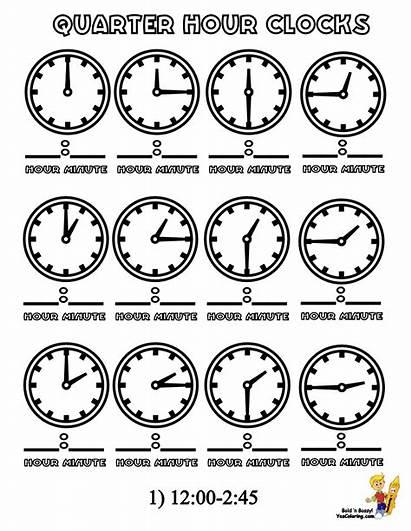 Clock Coloring Quarter Clocks Pages Hours Hour