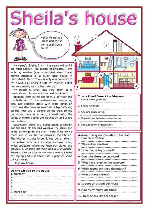 sheilas house worksheet  esl printable worksheets