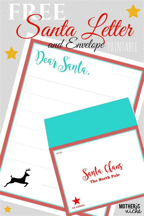 santa letter  envelope  printable