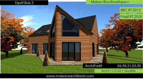 plan de maison en l avec 4 chambres esprit bois maison ossature bois demi ronde constructeur