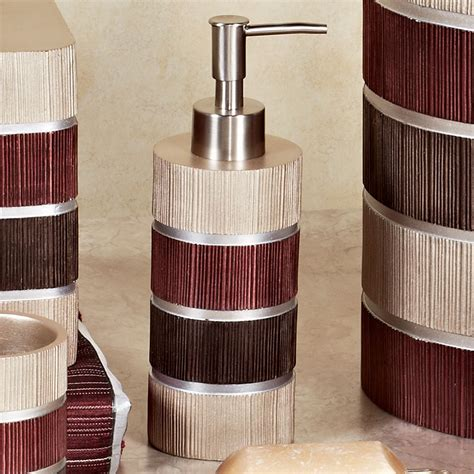 Burgundy Bathroom Accessories by Modern Line Burgundy Striped Bath Accessories