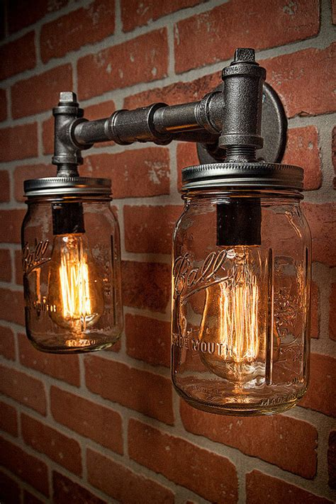 Rustic Bathroom Light Fixtures by Two Jar Vanity Sconce Light Fixture Industrial