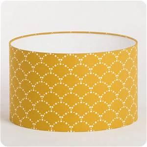 Abat Jour Tissu : abat jour design pour lampe lampadaire ou suspension en tissu motif japonais asahi moutarde ~ Teatrodelosmanantiales.com Idées de Décoration
